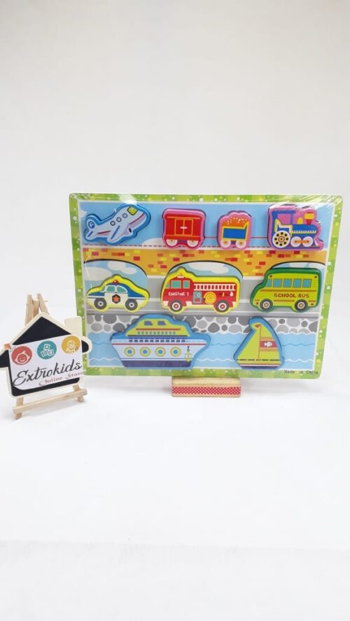 Wooden Animal Puzzle - Chunky - Transportation Vechicles