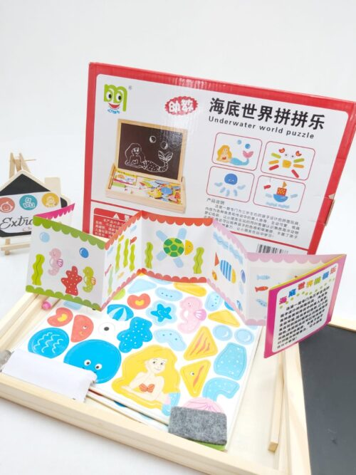 Wooden 2 in 1 Magnetic Cum Writing Board Box - FARM - UNDER WATER