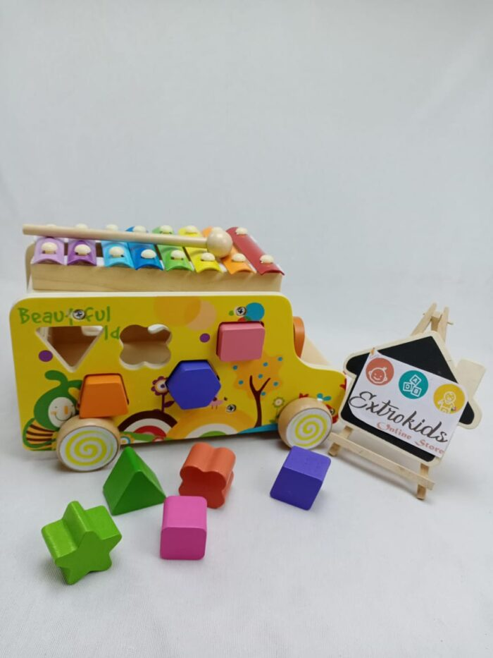 Wooden Multifunctional truck - Xylophone , Truck , Shape Sorter , Knocking toy , Color Sorter