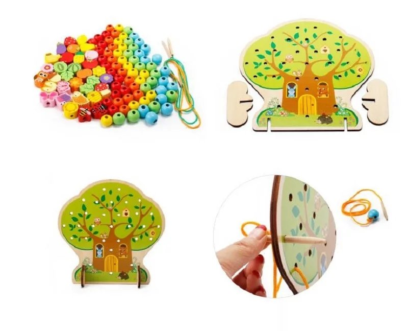 Wooden Toy Lacing the Rope with beads Game