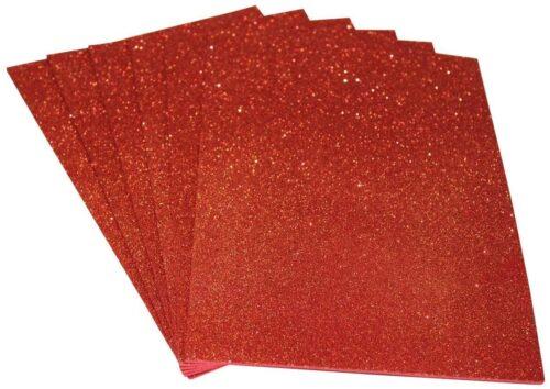 Craft Foam Sheet - Glitter - Sticker type - Orange Color - A4 Size - 10 Sheets in a pack