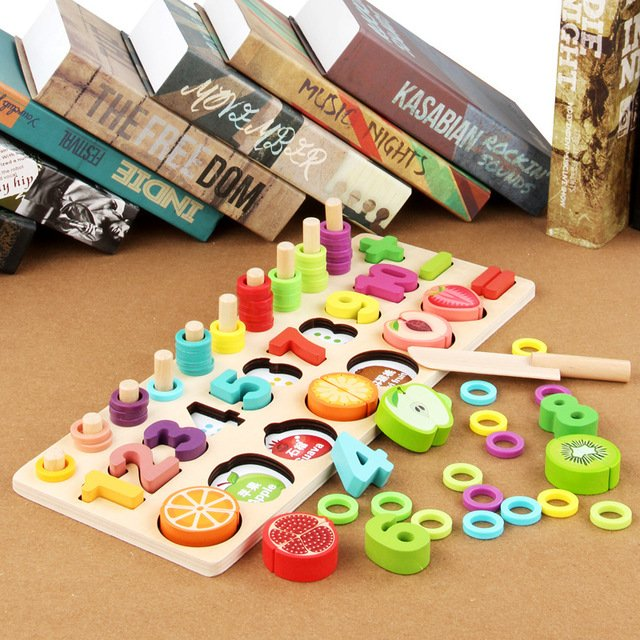 Wooden Maths Number Game for toddlers - With Beads and Fruits