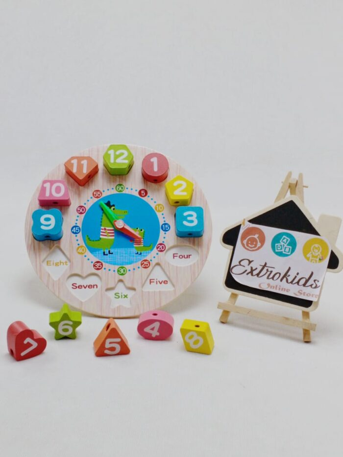 Wooden Seton Clock for Toddler With lacing