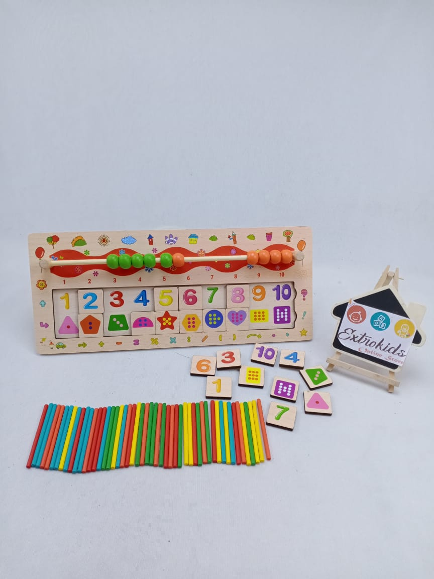 Wooden Math Toy for Toddler - Multi task - Beads Counting - hand Eye co-ordination - Number matching - Counting Sticks