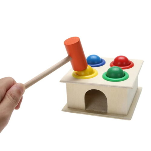 Wooden Hammer Case Toy (Multicolour)  Pinball Hammer Table Ball Pounding Toy Wooden Hammer Case Hammering Wooden Ball Case Box Montessori Early Learning Developmental Toy  12*12*10cm