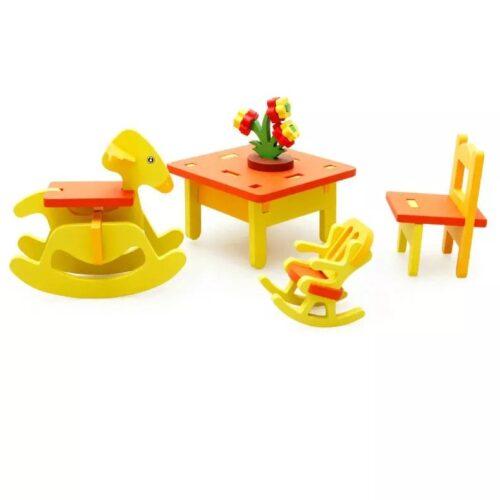 Extrokids 3D furniture Assemble  Kindergarten  3D Wooden Kindergarten Chairs Table Set Children Educational Puzzle Kids Miniature Furniture  Wood Toys For Girl Assembling  KINDER GARDEN1