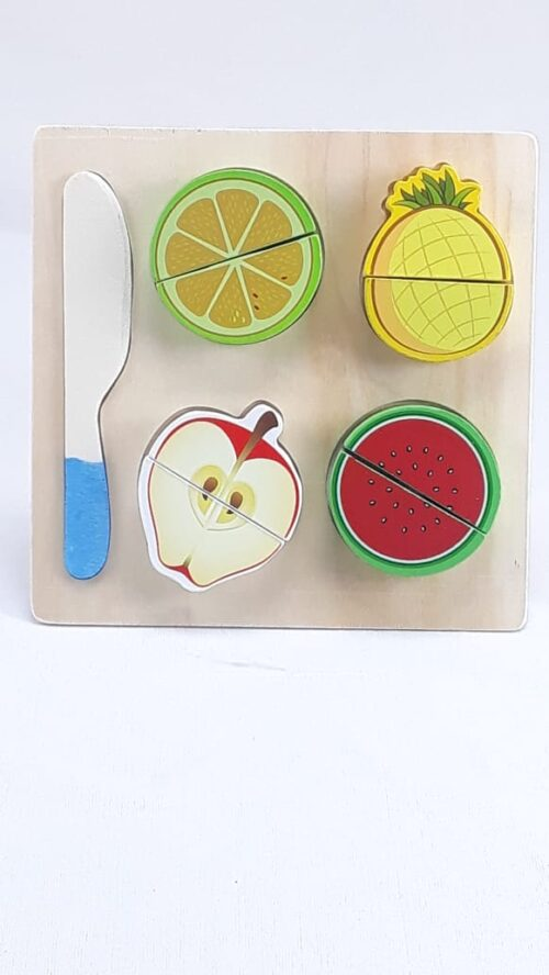 Wooden Fruit Cutting Set  Toy | Realistic Sliceable Fruits with Velcro | Cooking Play House Set | Educational Toys Kids 3 + Years  PINE APPLE2