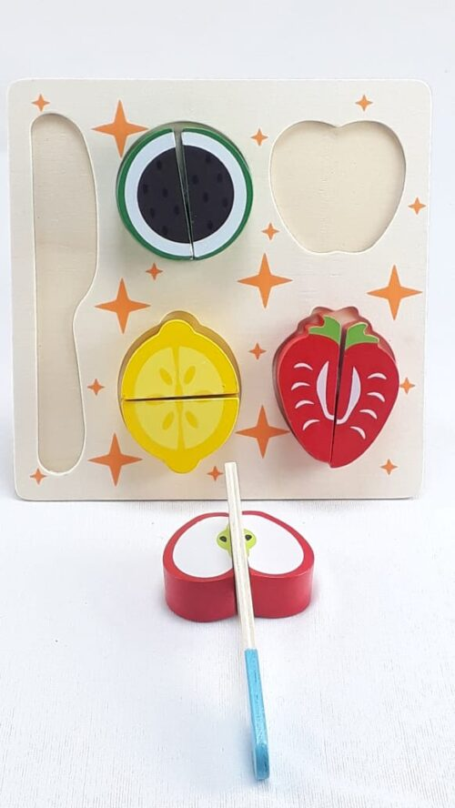 Wooden Fruit Cutting Set  Toy | Realistic Sliceable Fruits with Velcro | Cooking Play House Set | Educational Toys Kids 3 + Years  STRAWBERRY2