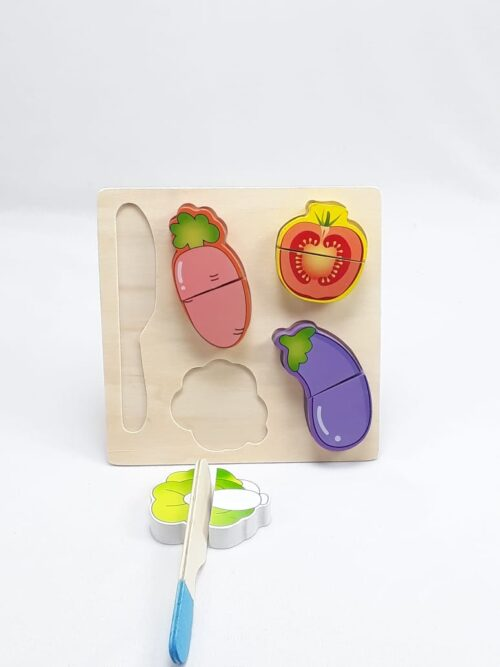 Wooden Fruit Cutting Set  Toy | Realistic Sliceable Fruits with Velcro | Cooking Play House Set | Educational Toys Kids 3 + Years  BRINJAL2