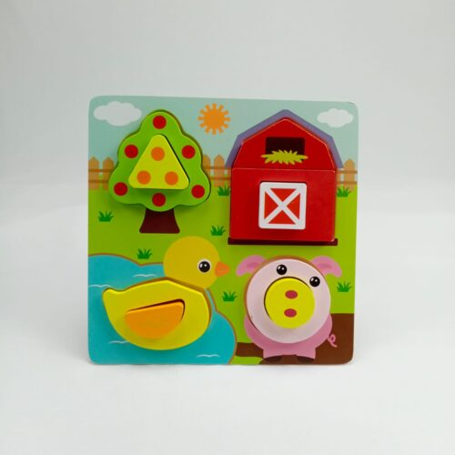 "Wooden Toy  7""X7"" PUZZLE BOARDFARM2"