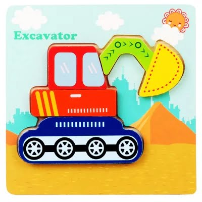 Montessori Toys Educational Wooden Toys for Children Early Learning 3D Cartoon Animal Puzzle Intelligence Jigsaw WOODEN 6X6 PUZZLE BOARD PRINTEDEXCAVATOR