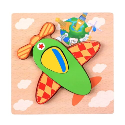 Montessori Toys Educational Wooden Toys for Children Early Learning 3D Cartoon Animal Puzzle Intelligence Jigsaw WOODEN 6X6 PUZZLE BOARD PRINTEDAIR PLANE