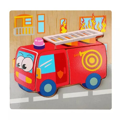 Montessori Toys Educational Wooden Toys for Children Early Learning 3D Cartoon Animal Puzzle Intelligence Jigsaw WOODEN 6X6 PUZZLE BOARD PRINTEDFIRE VEHICLE