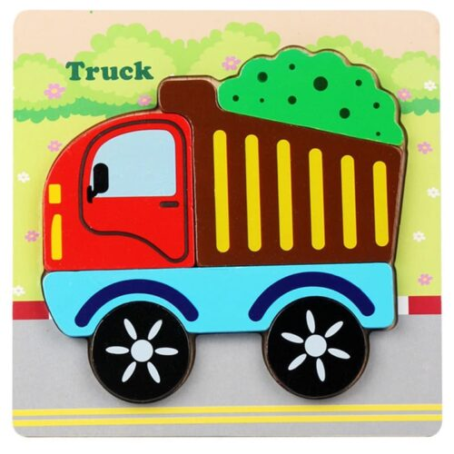Montessori Toys Educational Wooden Toys for Children Early Learning 3D Cartoon Animal Puzzle Intelligence Jigsaw WOODEN 6X6 PUZZLE BOARD PRINTEDTRUCK