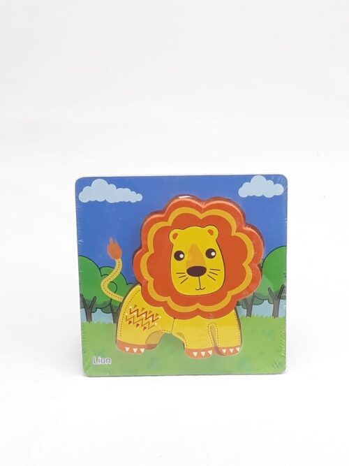 Montessori Toys Educational Wooden Toys for Children Early Learning 3D Cartoon Animal Puzzle Intelligence Jigsaw WOODEN 6X6 PUZZLE BOARD PRINTEDYELLOW COLOR LION