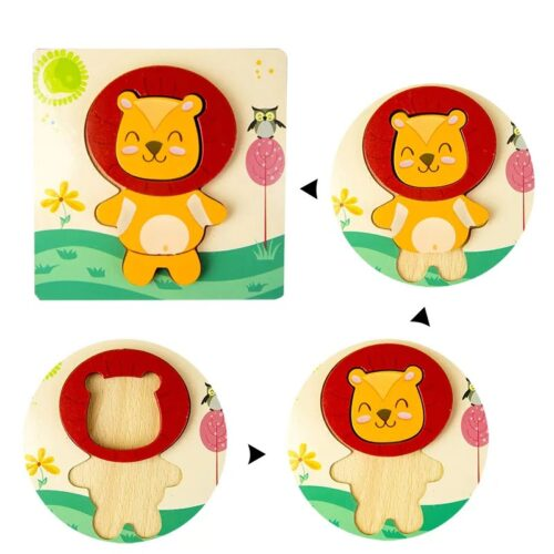 Montessori Toys Educational Wooden Toys for Children Early Learning 3D Cartoon Animal Puzzle Intelligence Jigsaw WOODEN 6X6 PUZZLE BOARD PRINTEDLION