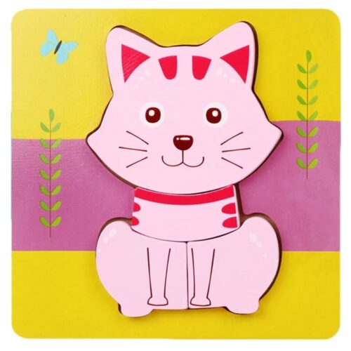 Montessori Toys Educational Wooden Toys for Children Early Learning 3D Cartoon Animal Puzzle Intelligence Jigsaw WOODEN 6X6 PUZZLE BOARD PRINTEDCAT