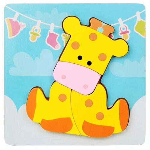 Montessori Toys Educational Wooden Toys for Children Early Learning 3D Cartoon Animal Puzzle Intelligence Jigsaw WOODEN 6X6 PUZZLE BOARD PRINTEDGIRAFFE
