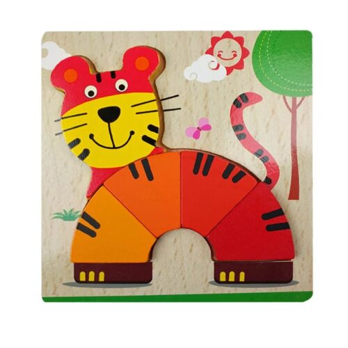 Montessori Toys Educational Wooden Toys for Children Early Learning 3D Cartoon Animal Puzzle Intelligence Jigsaw WOODEN 6X6 PUZZLE BOARD PRINTEDTIGER