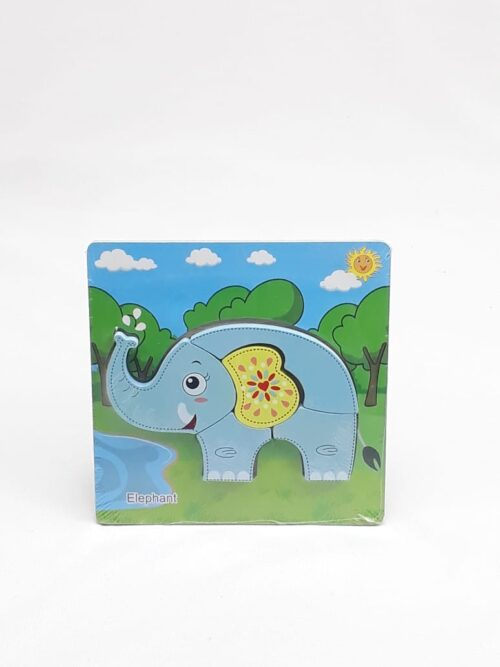 Montessori Toys Educational Wooden Toys for Children Early Learning 3D Cartoon Animal Puzzle Intelligence Jigsaw WOODEN 6X6 PUZZLE BOARD PRINTEDELEPHANT