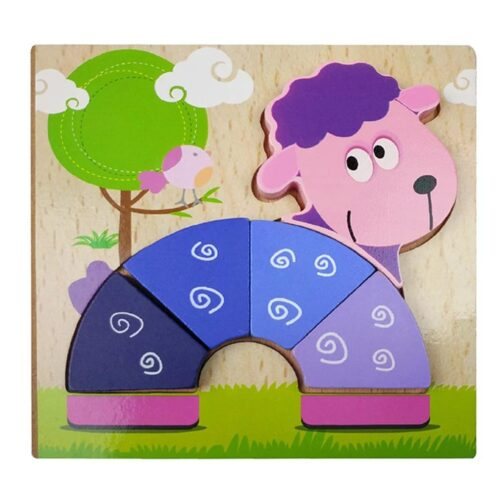 Montessori Toys Educational Wooden Toys for Children Early Learning 3D Cartoon Animal Puzzle Intelligence Jigsaw WOODEN 6X6 PUZZLE BOARD PRINTEDSHEEP