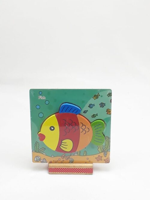 Montessori Toys Educational Wooden Toys for Children Early Learning 3D Cartoon Animal Puzzle Intelligence Jigsaw WOODEN 6X6 PUZZLE BOARD PRINTED COLORFUL FISH