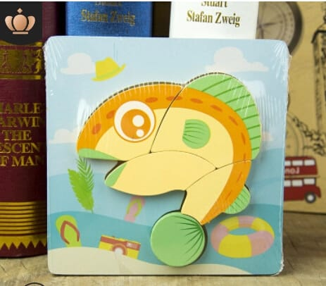 Montessori Toys Educational Wooden Toys for Children Early Learning 3D Cartoon Animal Puzzle Intelligence Jigsaw WOODEN 6X6 PUZZLE BOARD PRINTEDDOLPHIN
