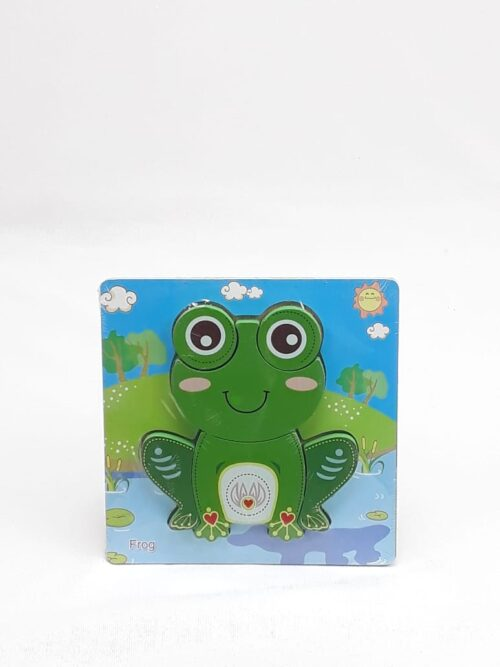Montessori Toys Educational Wooden Toys for Children Early Learning 3D Cartoon Animal Puzzle Intelligence Jigsaw WOODEN 6X6 PUZZLE BOARD PRINTEDFROG