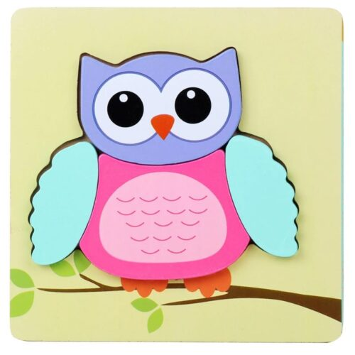 Montessori Toys Educational Wooden Toys for Children Early Learning 3D Cartoon Animal Puzzle Intelligence Jigsaw WOODEN 6X6 PUZZLE BOARD PRINTED COLORFUL OWL