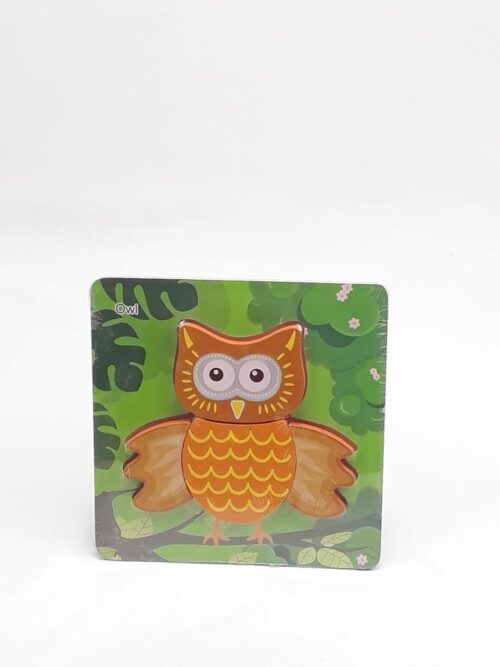 Montessori Toys Educational Wooden Toys for Children Early Learning 3D Cartoon Animal Puzzle Intelligence Jigsaw WOODEN 6X6 PUZZLE BOARD PRINTED OWL