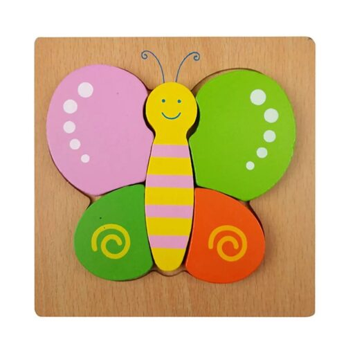 Montessori Toys Educational Wooden Toys for Children Early Learning 3D Cartoon Animal Puzzle Intelligence Jigsaw WOODEN 6X6 PUZZLE BOARD PRINTEDBUTTERFLY