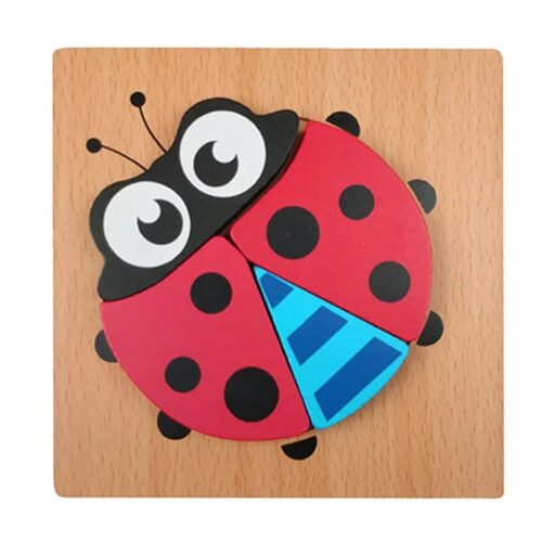 Montessori Toys Educational Wooden Toys for Children Early Learning 3D Cartoon Animal Puzzle Intelligence Jigsaw WOODEN 6X6 PUZZLE BOARD PRINTEDLADY BUG