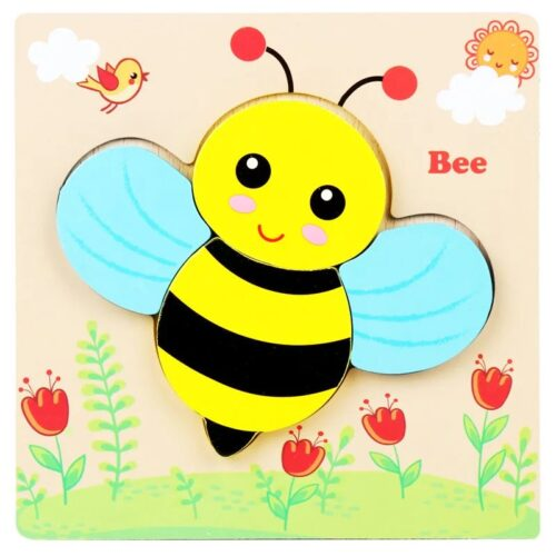 Montessori Toys Educational Wooden Toys for Children Early Learning 3D Cartoon Animal Puzzle Intelligence Jigsaw WOODEN 6X6 PUZZLE BOARD PRINTEDHONEY BEE