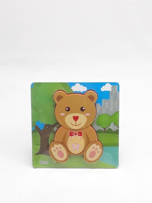 Montessori Toys Educational Wooden Toys for Children Early Learning 3D Cartoon Animal Puzzle Intelligence Jigsaw WOODEN  6X6 PUZZLE BOARD PRINTED BROWN COLOR BEAR