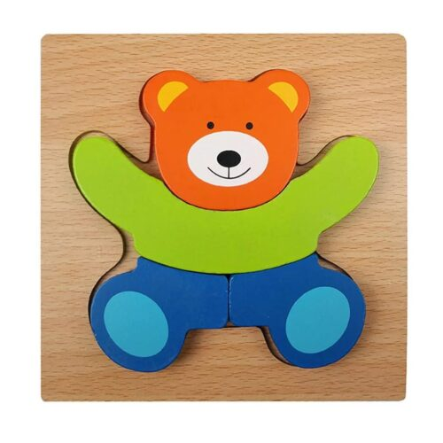 Montessori Toys Educational Wooden Toys for Children Early Learning 3D Cartoon Animal Puzzle Intelligence JigsawWT 6X6 PUZZLE BOARD PRINTED COLOR FULL BEAR