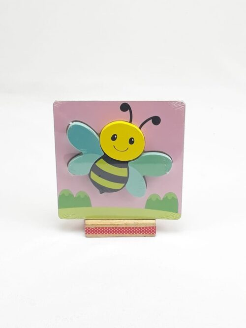 Montessori Toys Educational Wooden Toys for Children Early Learning 3D Cartoon Animal Puzzle Intelligence Jigsaw Wooden 6X6 PUZZLE BOARD PRINTEDHONEY BEE PINK BOARD