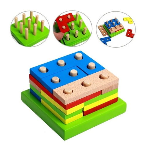 Extrokids - Kid toy Montessori Wooden Geometric Puzzle Shape Color Matching Hands Brain Training Early Learning Educational Toy For children