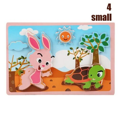 Montessori Game Early Educational Montessori Toys Puzzle Card Cartoon Animal Pair Matching Game Toys for Children - Rabbit