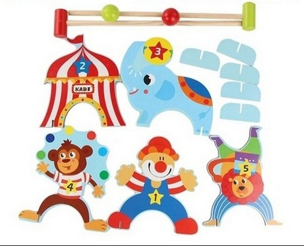 EXTROKIDS Clown Wooden Montessori Circus Gate Ball Materials Learning To Circus Hits the Goal Early Education Teaching Toys Children Wooden Kids Clown Gate Ball Enducational Toy For Children Cue Sport Indoor Mini Golf Sports Toy Outdoor Moulds Family Games