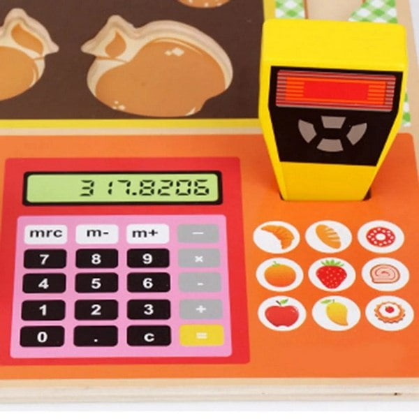 Extrokids Premium Wooden Simulated Supermarket Checkout Counter Role Kids Cutting Fruit Vegetable Pretend Play Children Early Educational Toy