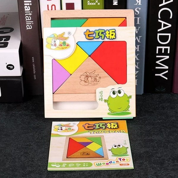 Extrokids Wooden Tangram 7 Piece Jigsaw Puzzle Colorful Square IQ Game Brain Teaser Intelligent Educational Toys For Kids
