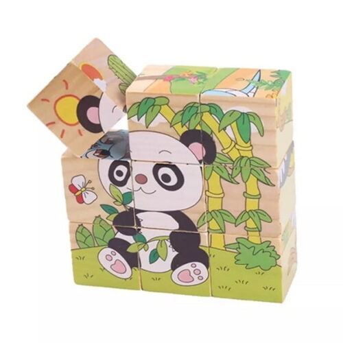 Hand Grab Board Montessori Wooden Puzzle Toys Baby Early Educational Learning Toys for Children Wild Animal 3D Jigsaw Puzzle type 1