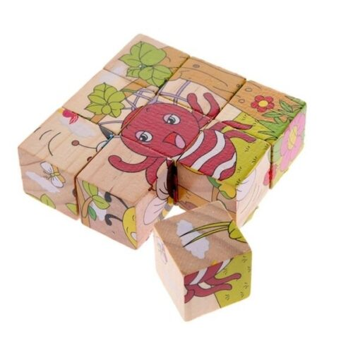 Hand Grab Board Montessori Wooden Puzzle Toys Baby Early Educational Learning Toys for Children insects 3D Jigsaw Puzzle