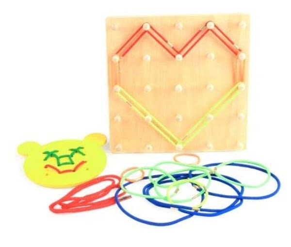 Wooden Toy Multi Functional Threading Board Games