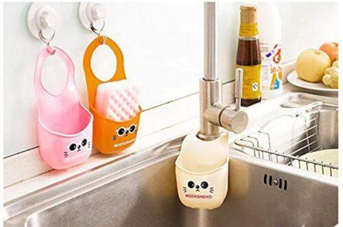 Mini Sink Storage Basket Hanging Bag Water Tank Shelf Organizer for Toilet Kitchen Sponge Soap Gadgets Accessories
