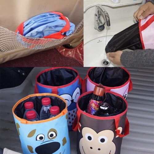 The Car Inside Cartoon Animal Storage Bucket Mini Car Travel Trash Durable Hanging Bag Picture For Gift Household storage