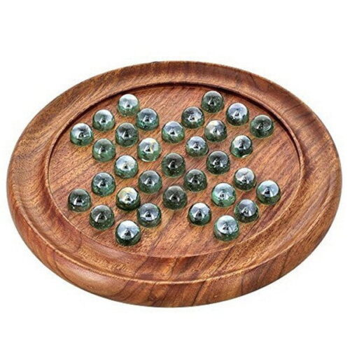 Extrokids SOLITAIRE BOARD IN SHEESHAM WOOD WITH GLASS MARBLES