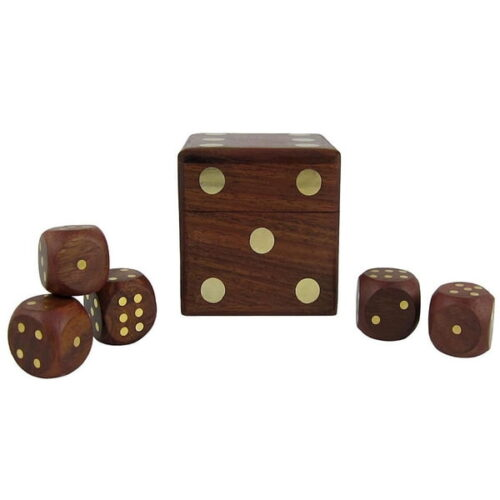 Extrokids Wooden Dice Set of 5 - Brown