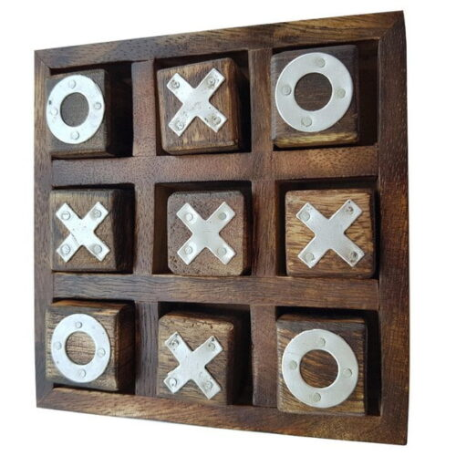 Extrokids Noughts and Crosses Game Brass Wooden Tic Tac Toe Game - Brown