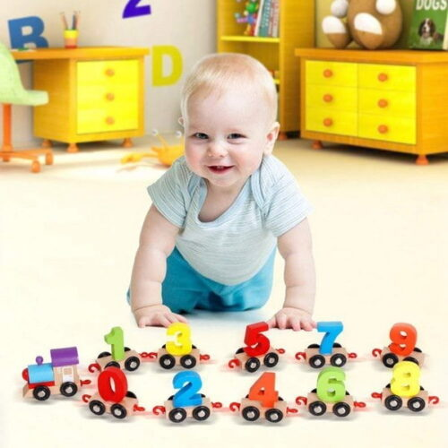 Wooden Train Educational Model Vehicle Toys Vehicle Pattern 0 to 9 Number, Educational Learning Toys